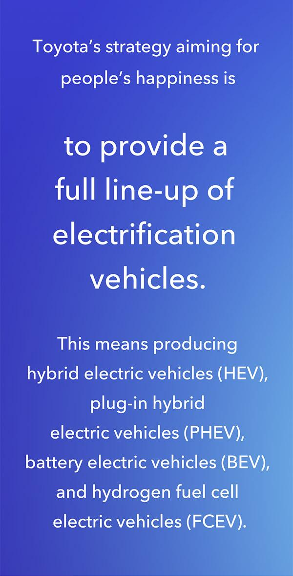 Toyota's strategy aiming for people's happiness is to provide a full line-up of electrification vehicles from hybrid electric vehicles (HEV), plug-in hybrid electric vehicles (PHEV), battery electric vehicles (BEV), and to fuel cell electric vehicles (FCEV).