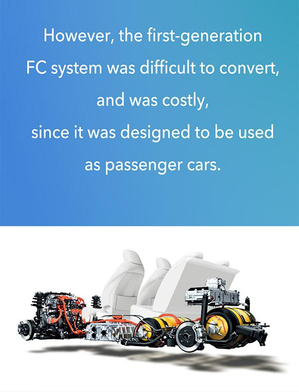 The first-generation Mirai's FC system was costly and difficult to be applied to other mobility.