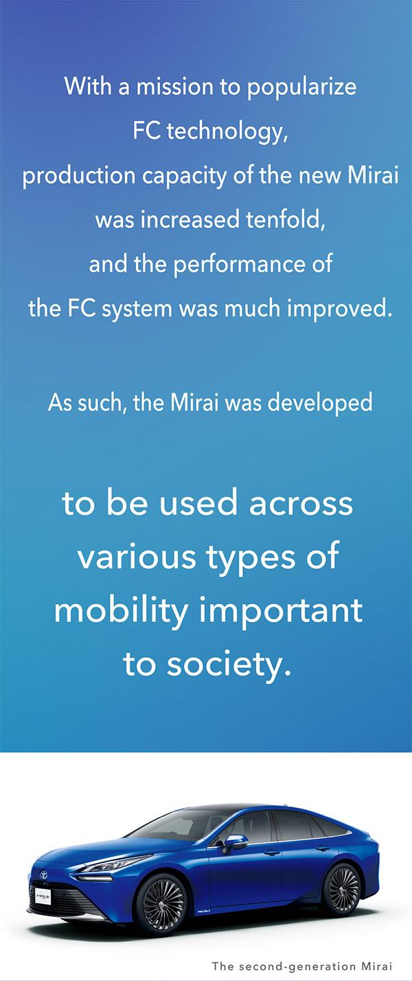 The second-generation Mirai was developed with an aim of being used across various types of mobility important to society.