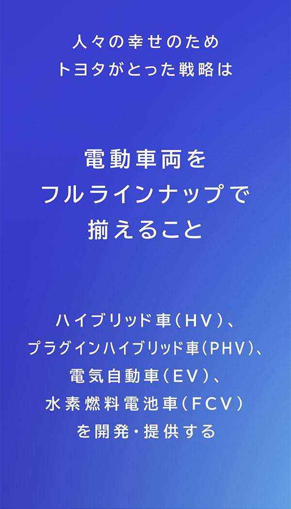 トヨタの電動化戦略はHV、PHV、EV、FCVなどの電動車両をフルラインナップでそろえること